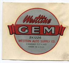 Westline Gem 2x1226 Automotive Tools Western Auto Supply Decal NOS