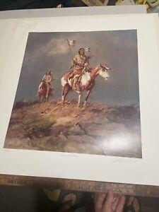 "Olaf Wieghorst, signed litho 22 x 20 ""Nomads of the Plains"""