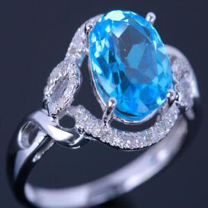 Solid 14k White Gold Swiss Blue Topaz Diamonds Gemstone Engagement Wedding Ring