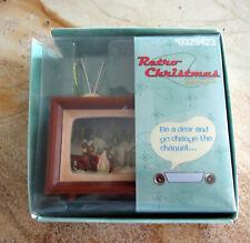 Two Retro Christmas VTG TV Ornaments Penguin Igloo