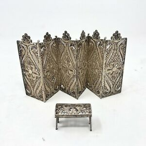 dollhouse room divider & stool/ ottoman matching set - lace wire metal ornate
