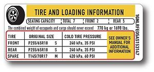 GM CHEVROLET TRAVERSE YUKON TIRE AND LOADING INFORMATION TIRE PRESSURE STICKER