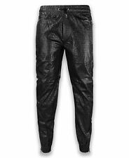 NEW Men FAUX Leather Jogger Pants Snake Skin Classic Fit Drawstrings Size M-3XL