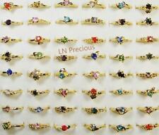100pcs Rhinestone Gold Plated Rings Mixed Women Wholesale Jewelry