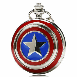 Pocket Watch Necklace Gift Silver Captain America PersonalizedStyle Unisex