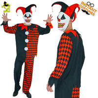 Funny Mens Evil Jester Clown Costume Scary Halloween Party Adult Clown Cosplay