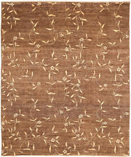 8X10 Hand-Knotted Gabbeh Carpet Tribal Brown Fine Wool Area Rug D36998