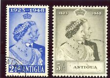 Antigua 1949 KGVI Silver Wedding set complete VF used. SG 112-113. Sc 98-99.