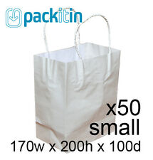 x50 WHITE paper gift CARRY tote party BAGS with handles - SMALL (170 x 200mm)
