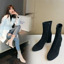 Fashion Women's Faux Suede Elastic Ankle Boots Round Toe Side Zip Casual Booties