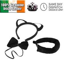 Black Cat Ears Tail Bow tie Halloween Anime Cosplay Headband Girls Ladies Adults