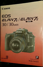 Canon EOS Elan 7E / 30 Date - User Instruction Manual - French Edition Francaise