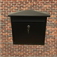 BLACK STEEL LETTER POST MAIL BOX MAILBOX POSTBOX LETTERBOX TWO KEYS TO LOCK NEW