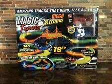MAGIC TRACKS Mega Xtreme 2 Race Cars and 18ft 360pc Glow Track NEW FREE SHIPPING