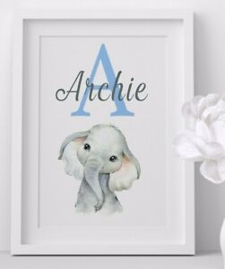 Personalised Elephant Baby Nursery Print Bedroom Wall Art Picture Decor Gift