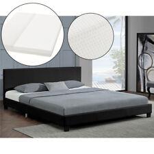 Polsterbett Doppelbett 140 x 200 cm  Kunstlederbett Bettgestell mit Matratze Neu