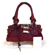 Authentic CHLOE Logos Paddington Hand Bag Leather Bordeaux Padlock 09EA715