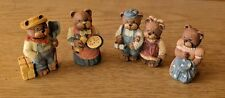 Lot of 4 Miniature TEDDY BEAR FAMILY FIGURINES