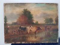 Peinture signée. Painting signed paysanne et vaches 19èmes