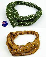 Women Lady Retro Flower Boho Bohemian Leopard Cross hair headband band bandana