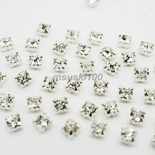 Sew On Cut Glass Silver Setting Rhinestone Diamante Craft Dress Decor Crystals