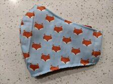 HANDMADE Fox Face Fabric Face Mask - Filter pocket, Cotton mask, Washable, USA