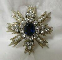 Vintage Gold Tone Sapphire & Crystal Rhinestone & Faux Pearls Brooch