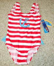 Jump N Splash Marine Red White Stripe Blue Anchor Girl 6X Swimsuit Swimwear UV50
