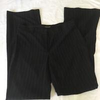 TAHARI Straight Wide Leg PANTS Women's SZ 8 BLACK w WHITE STRIPES-VERY SLIMMING