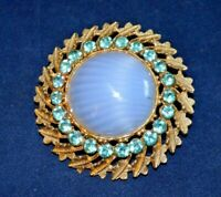 Vintage 1950s dome faux agate glass brooch, unmarked