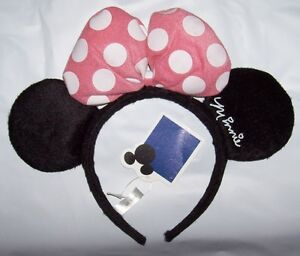 NWT Minnie Mouse Headband with ears & pink bow Costume Halloween dress up