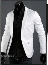 New Stylish Men's Casual Slim fit One Button Suit Blazer Coat Jackets white  L