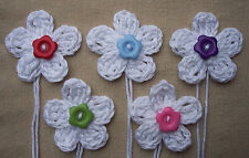 x5 Crochet Flowers appliques WHITE Multi button Embellishment Toppers Trim