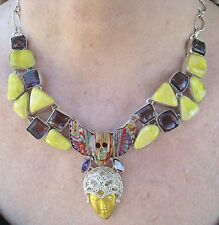 Goddess & Voodoo Necklace YELLOW/RAINBOW TURQUOISE, AMETHYST 925 STERLING SILVER