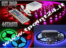 KIT COMPLETO STRISCIA LED 5M STRIP RGB SMD3528 MULTICOLOR + TELECOMANDO 44TASTI