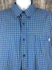 Timberland Mens Blue Yellow Plaid Cotton Button Check Short Sleeve Shirt Size XL