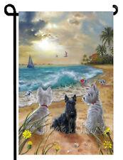 Westie Scottie Dog painting West Highland Terrier Scottish GARDEN FLAG BEACH ART
