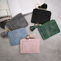 AU_ Women Faux Leather Mini Pendant Card Holder Coin Purse Keychain Wallet Sanwo