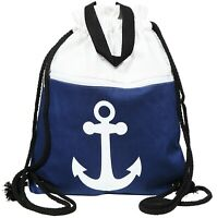 Damen Rucksackbeutel Textil 33x40 Blau Weiß Anker Marine Turnbeutel X3600183001
