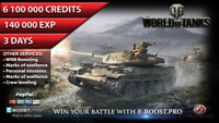 World of Tanks 6.1 mln silver and 140 000 XP 3 Days ( Not Bonus Code ) WoT