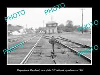 OLD LARGE HISTORIC PHOTO OF HAGERSTOWN MARYLAND, NC RAILROAD SIGNAL TOWER c1930
