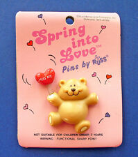 Russ Pin Valentines Vintage Bear Heart Balloon Hug Me Teddy Holiday Brooch New