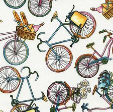 Tossed Bicycles 100% Cotton Fabric - White Children 1/2 mtr Timeless Treasures