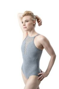 SO DANCA  LEOTARD. GREY  HONEYCOMB STRETCH FRONT DETAIL WITH MESH  CAMISOLE