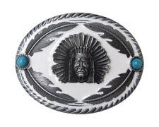 Boucle, plaque de ceinture ovale motif tête d'indien et plumes, acier.