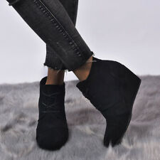 Women's Wedges Suede Ankle Boots Leopard Printed Lace Tie Round Toe Side Zipper