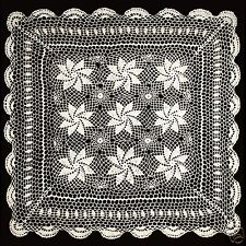 "Vintage Crochet Lace Doilies Placemat Table Runner 30""x30"" Ivory Hand Kintted"