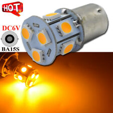 2 x DC 6V 1156 5050 9SMD LED Turn Signal Light DC 6V Yellow/Amber Car Bulb 180LM