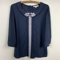 Comme Toi womens blouse sz M Med shirt top blue crochet lace 3/4 sleeve