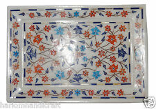 """7""""x10"""" Marble Serving Tray Plate Hakik Marquetry Floral Inlay Table Decor H1276"""